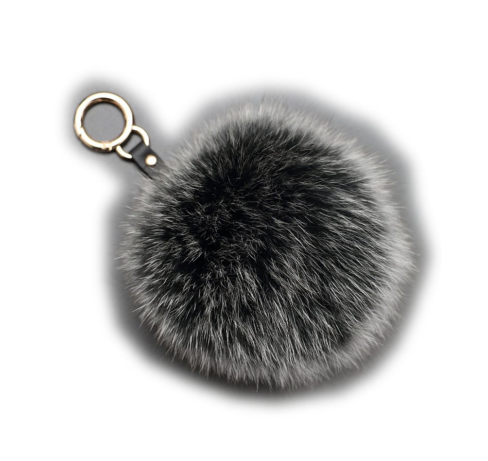 Genuine Fox Fur Ball Large 4.7'' Charm Key Chain Black&Gray