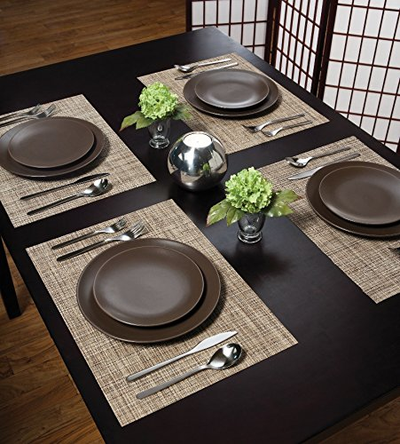 Benson Mills Tweed Woven Vinyl Placemats, Natural, Set of 8 - RESTAURANT QUALITY!  These are perfect for any occasion.  VERY EASY TO CLEAN! Made of 100% Vinyl BEST POSSIBLE VALUE! - placemats, kitchen-dining-room-table-linens, kitchen-dining-room - 616cItDxuML -
