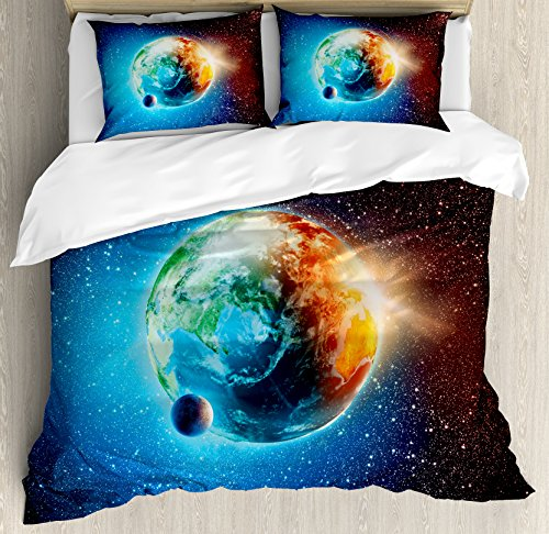 Earth Duvet Cover Set (Earth Duvet Cover Set Queen Size by Ambesonne, Majestic Galaxy Outer Space View Universe with Planet Earth Stars Astral Theme, Decorative 3 Piece Bedding Set with 2 Pillow Shams, Orange Blue Black)