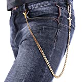 Men Wallet Chain Punk Biker Jean Purse Key Chain (26''/3.1oz) Gold