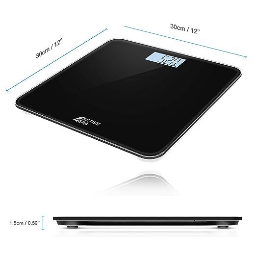 Active EraTM Báscula de Baño Digital Ultrafina con Sensores de Alta Precisión (stones/kgs/libras) - Negro: Amazon.es: Salud y cuidado personal