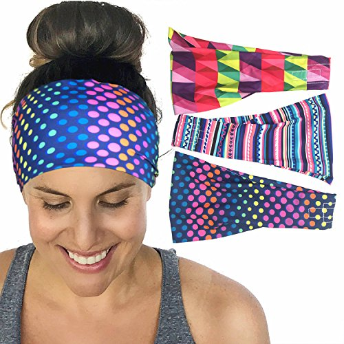 Set of 3 Yoga Headband Workout Headband Fitness Headband No Slip Headband Boho Hair Accessories Women Headband Running Headband