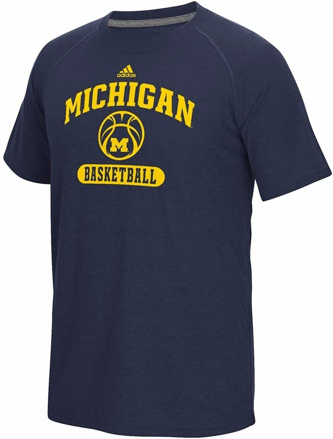 adidas Michigan Wolverines NCAA Men's Navy Blue Climalite Ultimate Performance Michigan Basketball T-Shirt
