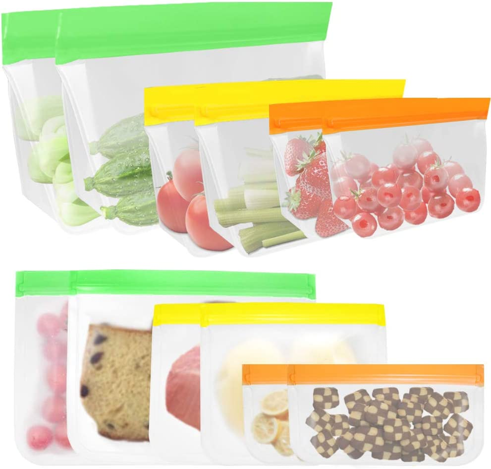 Reusable Storage Bags, AFUNTA 12 Pcs Airtight Freezer Bags (6 Pcs Stand Up & 6 Pcs Plane Bags), Transparent Storage Bags for Food, Fruit, Kid's Snacks or Travel Cosmetic