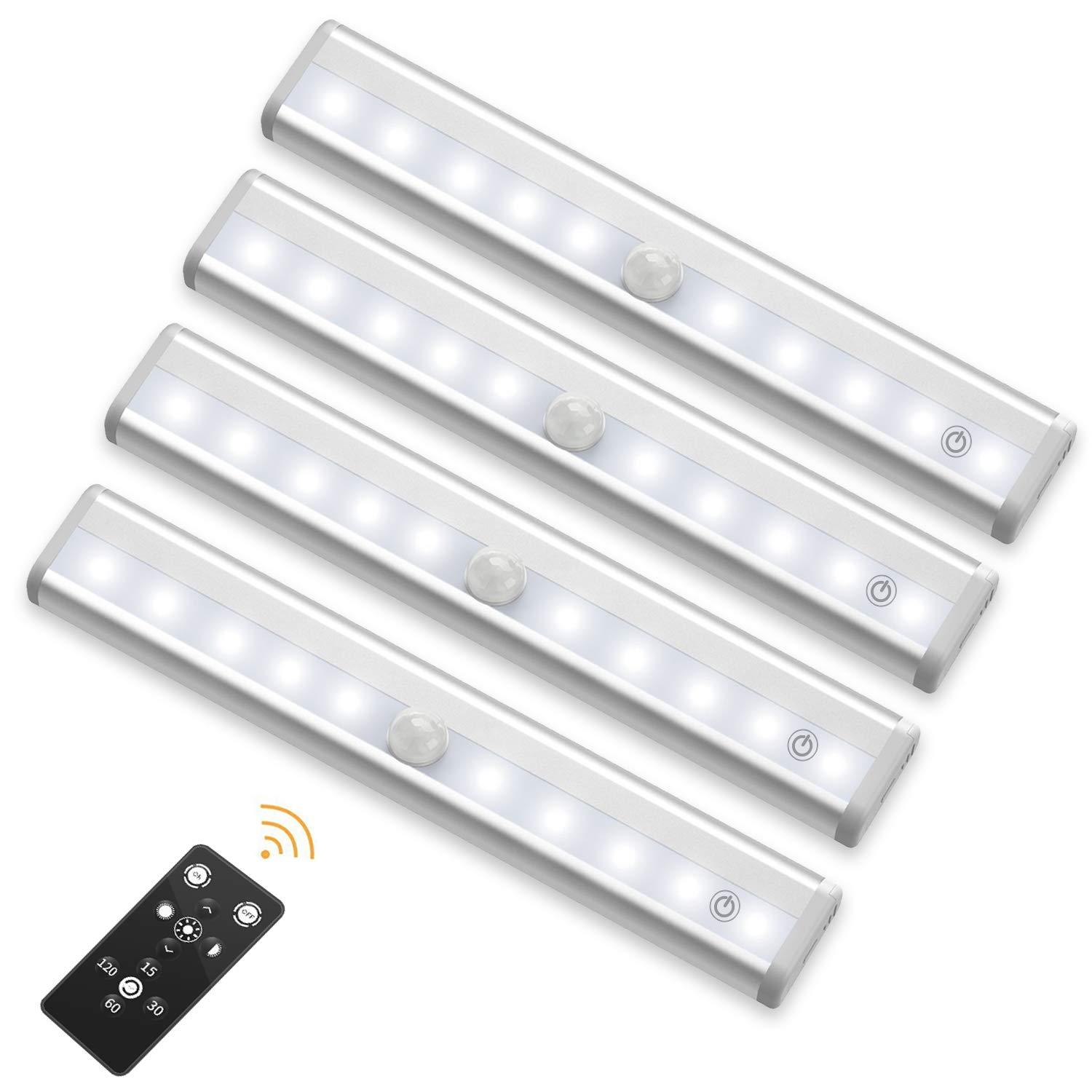 SZOKLED Remote Control LED Lights Bar, Wireless Portable LED Under Cabinet Lighting, Dimmable Closet Light Stair Night Lights Battery Operated, Stick on Anywhere Safe Light for Hallway Kitchen Bedroom