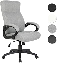 SixBros. Bürostuhl Chefsessel Drehstuhl Schreibtischstuhl Stoff Grau - HLC-0311-1/2167