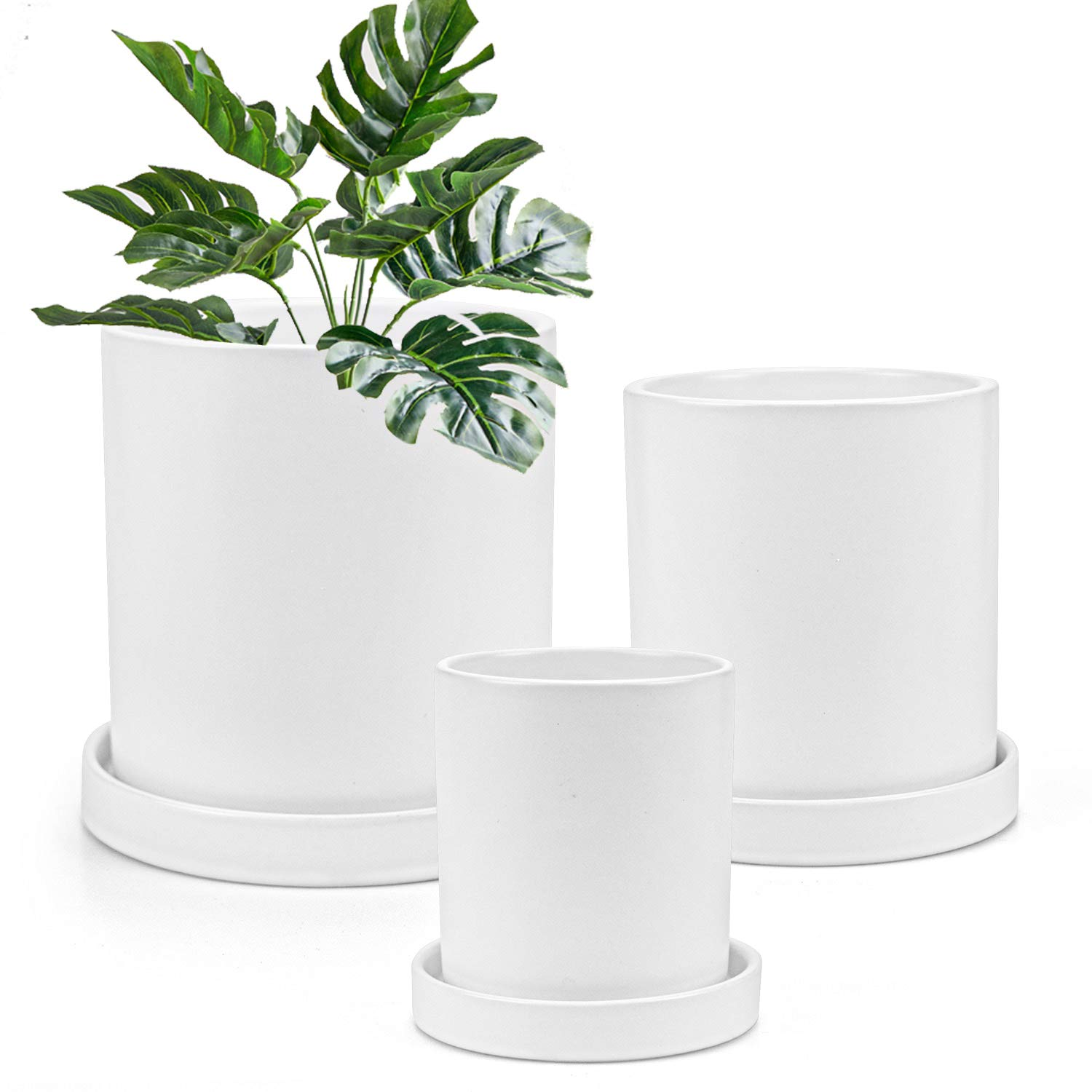 Flower Pots,Small to Large Sized Round Planter Pots,Ceramic Plants Containers,Succulent Pots with Drainage Hole,White Garden Pots 3 Pack