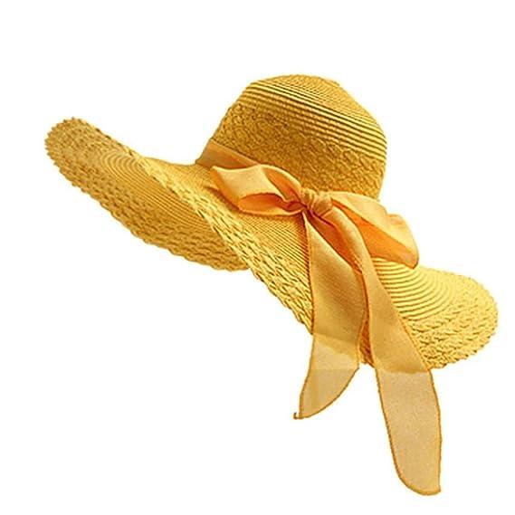 Leisial Mujer Ocio Sombrero de Playa de ala Ancha Protector Solar Visera  Sombrero de Paja Verano af4bf39027d8