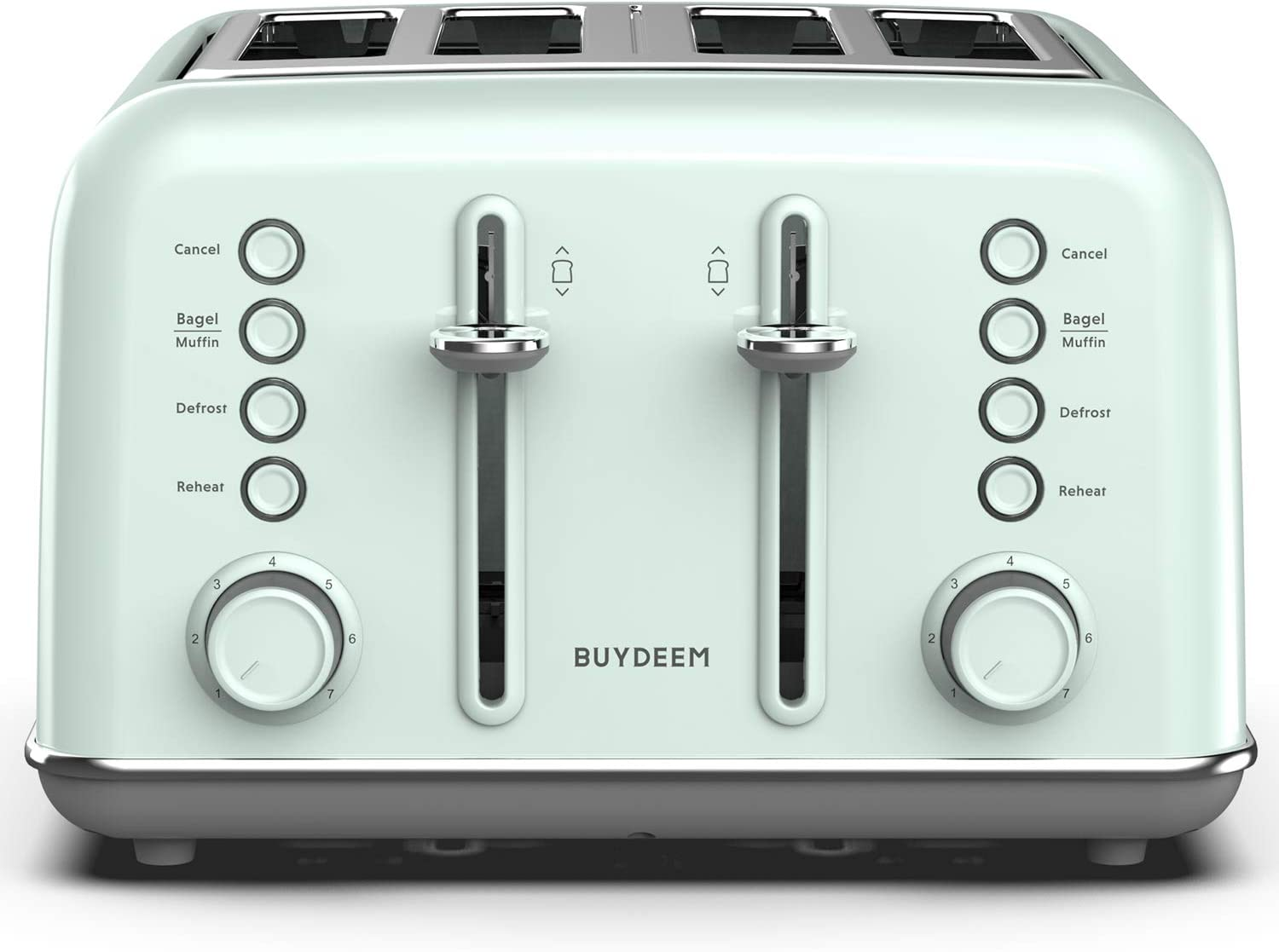 BUYDEEM DT-6B83G 4-Slice Toaster ?Extra Wide Slots?Teal Stainless Steel with High Lift Lever, Bagel and Muffin Function, 7-Shade Settings in Vintage Turquoise, Retro Pastel Green