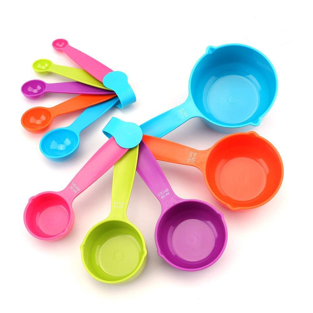 Tebery 10 Piece Good Grips Plastic Measuring Cups and Spoons - Mixed Colors 4335501325