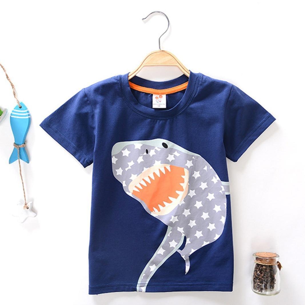 Jchen TM Boys Shark Print Tops Summer Toddler Kids Baby Boys Girls Short Sleeve Tee T-Shirt Blouse For 2-8 T