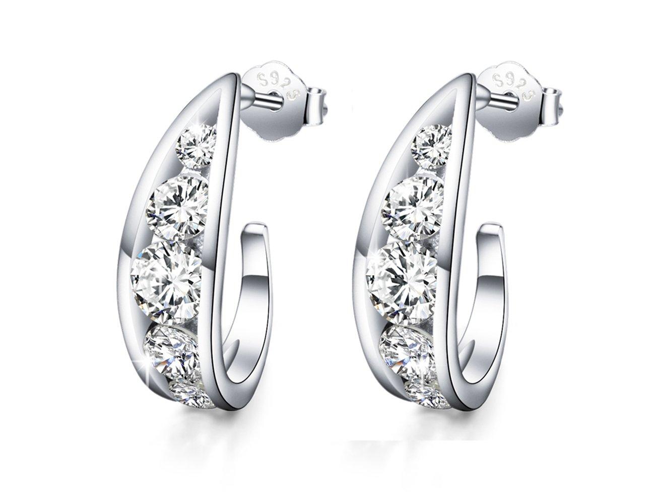 ''Crystal Love''925 Sterling Silver Filigree Half Hoop Earrings Hollow AAA Zircon Ear Studs(diamond)