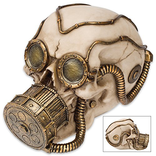 - K EXCLUSIVE Steampunk Gas Mask Skull Sculpture - Volataire M. Chemskul, Warden of The Vaporworks