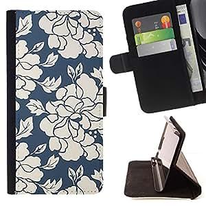 Momo Phone Case / Flip Funda de Cuero Case Cover - Papel pintado retro verde floral blanco - Samsung ALPHA G850