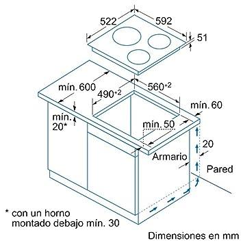 Balay MDA 3EB915LR VITROCERAMICA INDUCCION 3 ZONAS ENCANSTRABLE, 1400 W, Vidrio y cerámica, Negro