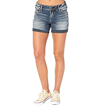12769cc7 Amazon.com: Silver Jeans Women's Elyse Eased Curve-fit Mid-Rise Dark Wash  Short: Clothing