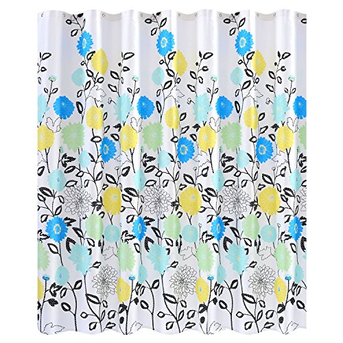 Wimaha Floral Shower Curtain Fabric, White Shower Curtain with Flowers Blue Yellow Aqua Cyan, Cloth Shower Curtain 72 x 72