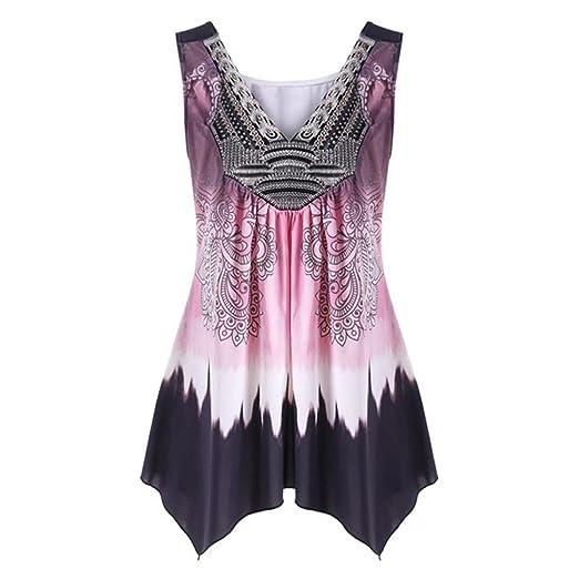 83f17ceb3b4 Amazon.com  UONQD Woman Women V Neck Summer Tank Top Sleeveless Casual  Loose Printed Vest Plus Size  Clothing