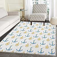 Compass Rug Kid Carpet Maritime Artwork in Watercolor Style with Blue Anchors and Windrose Home Decor Foor Carpe 3x5 Pale Coffee Blue White