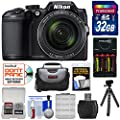Nikon Coolpix B500 Wi-Fi Digital Camera (Black) with 32GB Card + Batteries & Charger + Case + Tripod Kit (Certified Refurbished) by Nikon