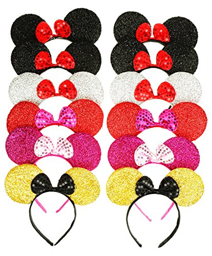 RufNTop Mickey and Minnie Mouse Sparkled Ears Headband for Boys and Girls Costume Accessory for Birthday Party or Celebrations(5 Colors MIX set of 12) (Toon Squad Costume)
