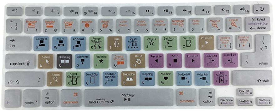 US//European ISO Keyboard Apple Logic Pro X Shortcut Keyboard Cover Protector for Apple MacBook Pro Air 13 15 17 Inch