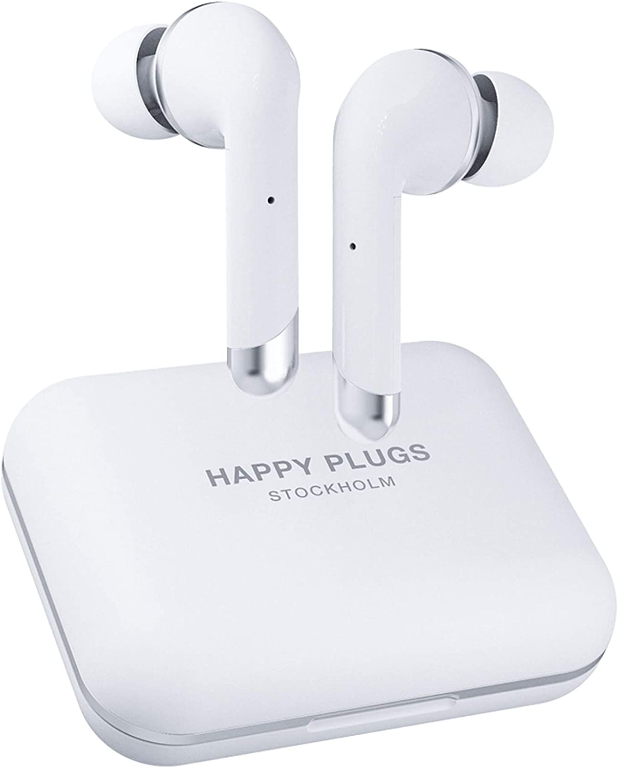 Happy Plugs Air 1 Plus High-end in-Ear True Wireless Bluetooth Earbuds/Headphones with Charging Case and Microphone   Up to 40 Hours Playtime   Suitable for iOS/Android, White