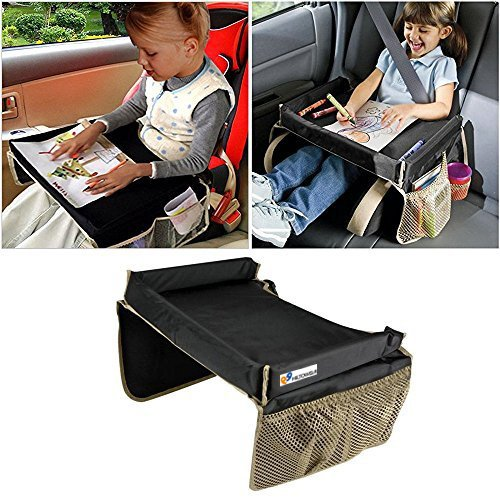 Hiltow Foldable Safety Baby Car Seat Table Kids Play Travel Tray(Black)