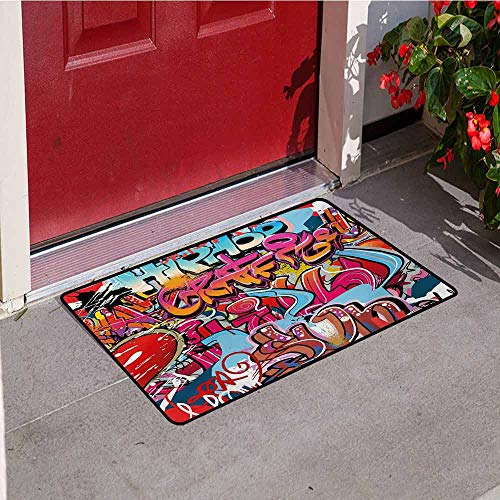 Jinguizi Graphic Front Door mat Carpet Hip Hop Street Culture Harlem New York City Wall Graffiti Art Spray Artwork Image Machine Washable Door mat W19.7 x L31.5 Inch Multicolor -
