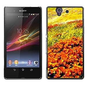 Be Good Phone Accessory // Dura Cáscara cubierta Protectora Caso Carcasa Funda de Protección para Sony Xperia Z L36H C6602 C6603 C6606 C6616 // Flowers Field Painting Art Orange Sk
