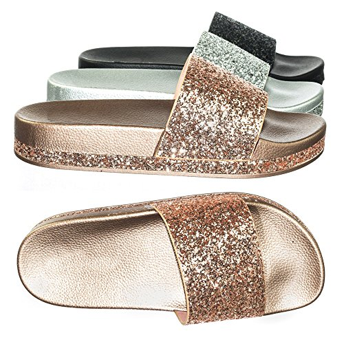 Per Sempre Link Strass E Glitter Slide In Pantofola In Sandalo Flatform Modellato In Pvc Oro Rosa