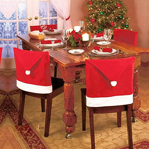 [Viiart Santa Hat Christmas Chair Covers - Set Of 1] (Dinining Set)