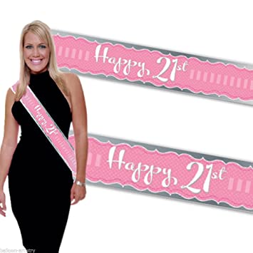 Perfectly Pink Party - Happy 21st Birthday Sash: Amazon co