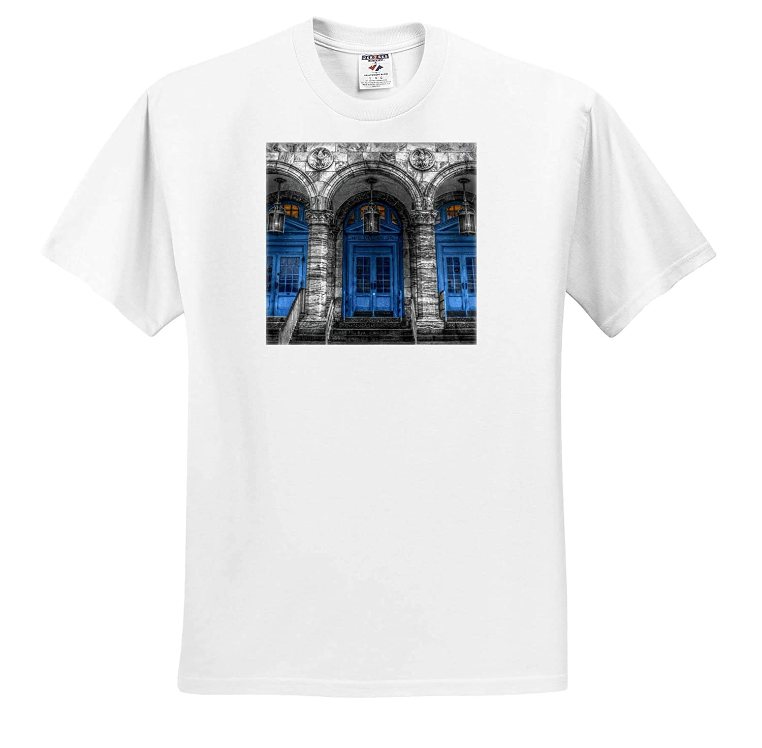 - T-Shirts 3dRose Stamp City Architecture HDR Photo of Front Entrance of Asbury Park Post Office in New Jersey