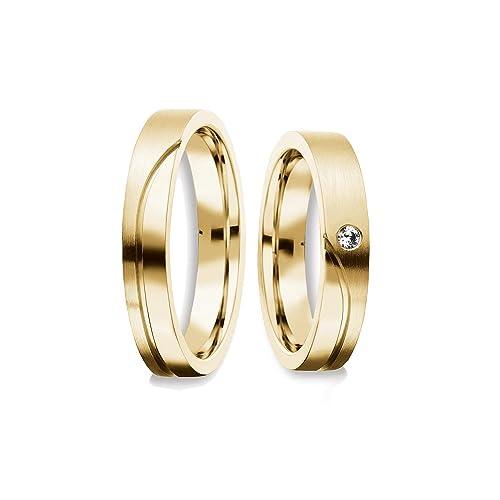 alianzas Trau alianzas Partner anillos Oro Kit Swarovski par de precio asequible Compromiso Anillos Plata par