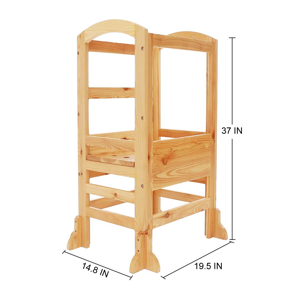 UNICOO- Height Adjustable Kids Learning Stool, Kids Kitchen Step Stool, Toddler Stool with Safety Rail-Solid Hardwood Construction. Perfect for Toddlers (Burlywood-02) by UNICOO (Image #5)