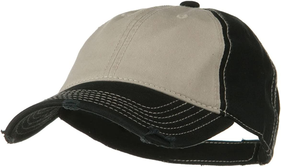 97d6044eee4 Otto Caps Superior Garment Washed Cotton Twill Frayed Visor Cap - Black  Khaki Black