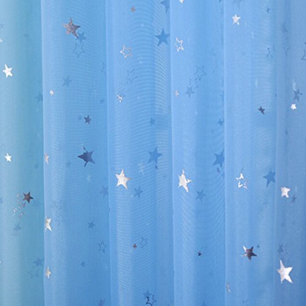 AiFish 2 Pieces Sheer Window Panel Curtains Short Voile Curtains Shiny Star Pattern Window Drape Panels Rod Pocket Tulle Gauze Curtais for Patio/Villa/Parlor/Salon 1 Pair Sky Blue W52 x L47 inch
