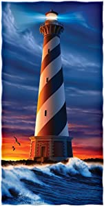 Dawhud Direct Lighthouse Sunset Super Soft Plush Cotton Beach Bath Pool Towel