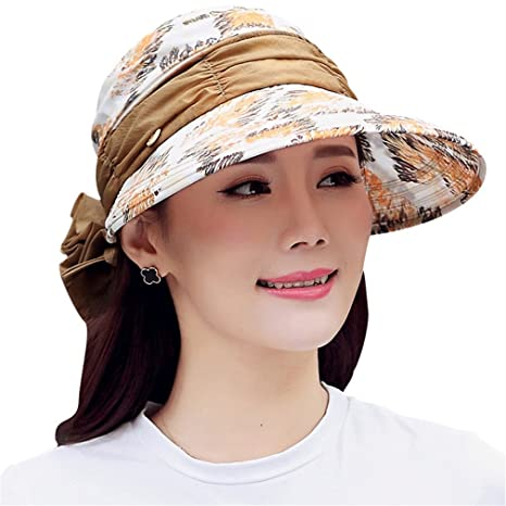 SUNBABY Summer Sun Visor Hat with Big Heads Wide Brim Beach Hat Omnibearing  UV Protection Female 5a0345978
