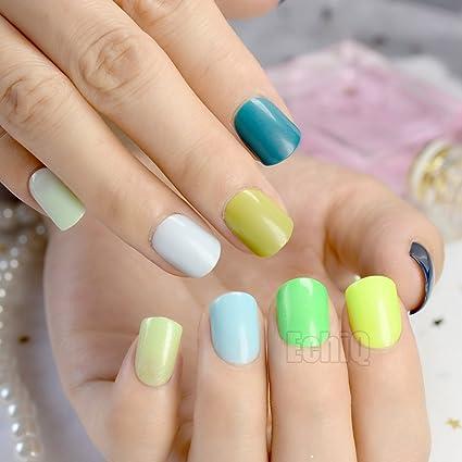 EchiQ Sweet Candy - Pinzas de uñas postizas, color verde, azul, 240 unidades