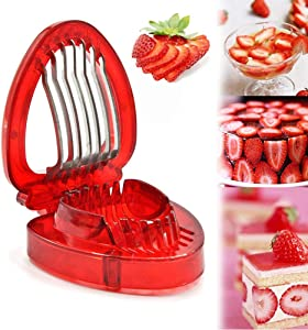 AKOAK 1 Pack Kitchen Mini Strawberry Slicer, Stainless Steel Cake Fruit Slicer, Home Kitchen DIY Gadget - Ideal for Cakes, Pies and Decorations