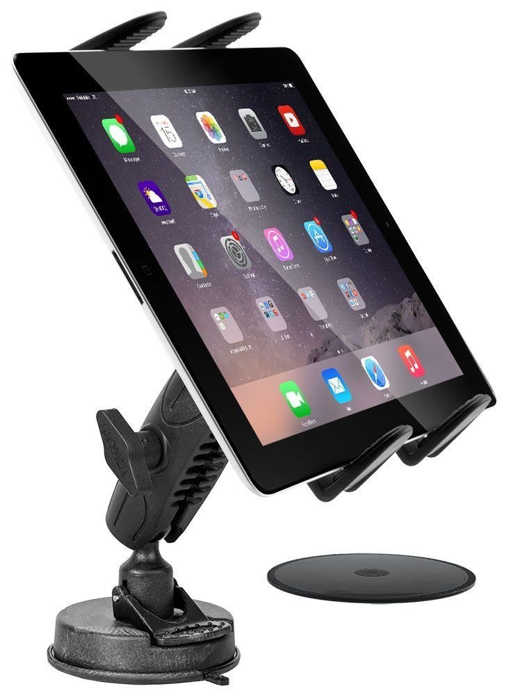 Tablet Car Mount, DigiMo Windshield Holder or Dash Car Tablet Mount Holder for Samsung Galaxy Tab A E S2 S3 S4 , iPad Pro, iPad Air, iPad Mini w/ Anti-Vibration Swivel Cradle (with or without case)