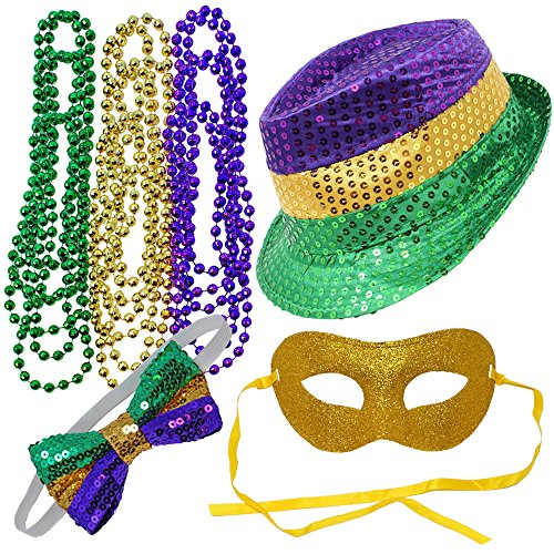Mardi Gras Bow (Joyin Toy 12 Pieces Mardi Gras Accessory Set Party Favors with Yellow Green Purple Beads Necklaces, Sequin Fedora Hat, Masquerade Mardi Gras Mask, Sequin Bow Tie)
