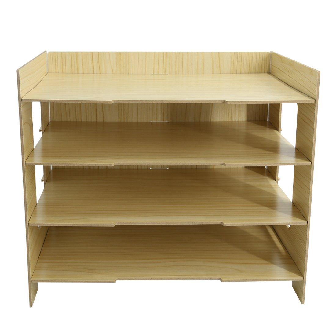 PeleusTech® 4 Layers Wood Storage Rack Durable Office Organization for File Desktop Organizer Shelf for Books Documents - (Wood Grain) by PeleusTech® (Image #1)