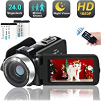 Video Camera Camcorder with IR Night Vision,1080p 30FPS HD Digital YouTube Vlogging Camera Recorder Support External Microphone Full HD 24MP 16X Digital Zoom with 2 Batteries HDMI Cable Included