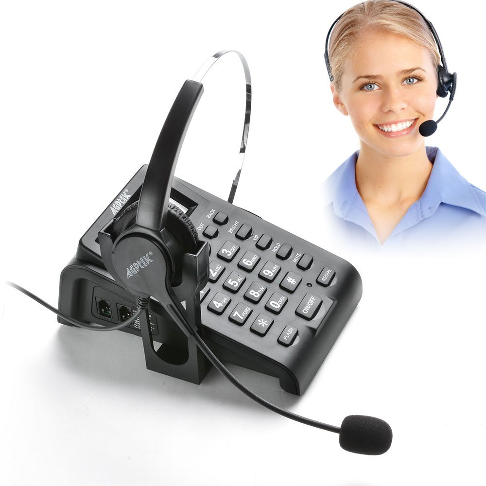 AGPtek® Call Center/Conference/Business Telephone Headsets Dial Pad with PC Recording Function