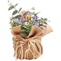 BIGBOBA Lavanda Plantas Artificiales-Maceta de Tejido de lino