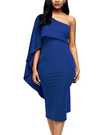 b0a13ce4a15d2 Lrud Women Off Shoulder Ruffle Bodycon Midi Dress Party Prom Curvaceous  Dresses: Amazon.co.uk: Clothing