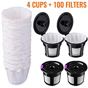 Reusable K Cups with Paper Filters Set, Including 4 Pack K Cups and 100 PCS Coffee Filters for Keurig 1.0 and 2.0 Brewers, Paper Filters Fit Reusable K-Cup Pods